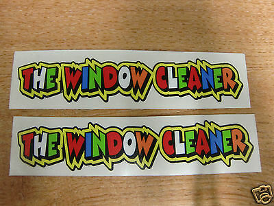Valentino Rossi Style Text -  THE WINDOW CLEANER   X2 Stickers  - 5in X 1in • 3.99£