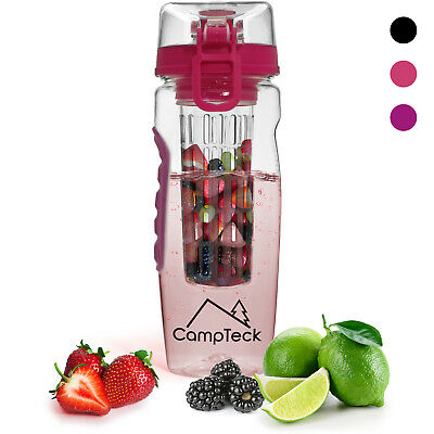 1000ml Fruit Infusing Infuser Water Bottle BPA Free Plastic Sports Detox Health • 9.99£
