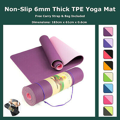 AU32.95 • Buy Eco Friendly TPE Yoga Mat 6mm Thick Nonslip Exercise Mat With Carry Strap & Bag