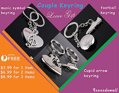 AU8.99 • Buy Cupit Arrow/Music Symbol/Football Couple Keyrings Valentine's Day Lover Gift
