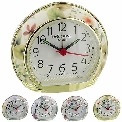 Wm.Widdop Retro Floral / Flower Alarm Clock With Light, Snooze & Sweep Movement • 14.73£