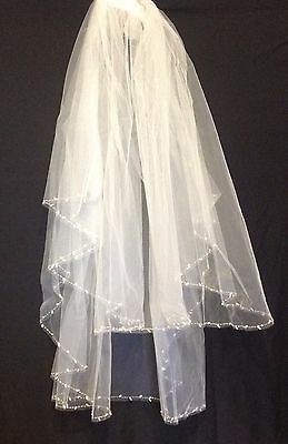 £32.61 • Buy Ivory Wedding Veil Bordered With Elegant Tear Drop Pearls And Crystals 2 Tier