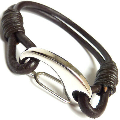 Mens Genuine Leather Braided Bracelet/Wristband Stainless Steel Clasp - Choose • 7.99£