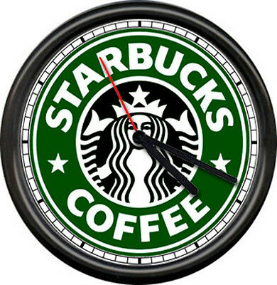 Starbucks Coffee Latte Espresso Shop Stand Drive Through Cafe Sign Wall Clock • 15.74£