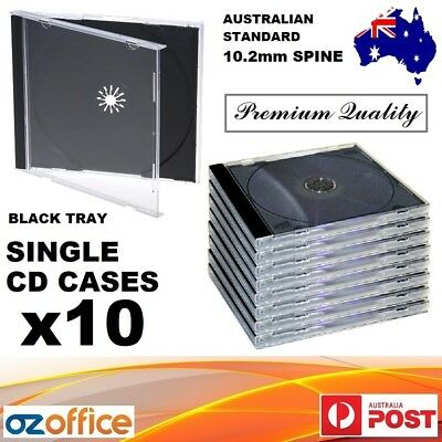AU16.95 • Buy 10 X Single Jewel CD Case Black Tray Single CD Cases CD Covers Standard Size