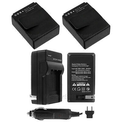 $ CDN18.38 • Buy 2x AHDBT 301/201 Replacement  Battery For GoPro HD Hero3 And AC/DC Charger