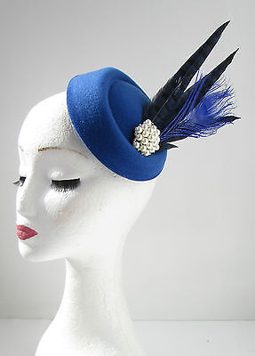 Blue & Navy Feather Pillbox Hat Fascinator Vintage 1920s Headpiece Races 40s Y18 • 16.95£
