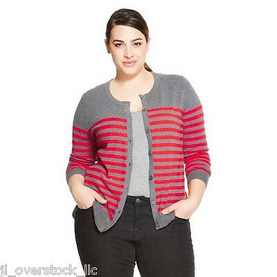 $9.49 • Buy Merona Women's Favorite Cardigan Sweater - Gray/Orange Stripe - XXL - NEW NWT