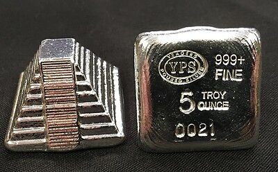$ CDN229.09 • Buy 5oz YPS  Aztec Pyramid  999+ Fine Silver Bullion Bar  Yeager's Poured Silver