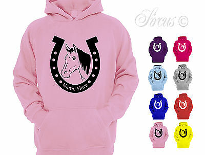 Girls Personalised Horse Riding Shoe Hoodie Childrens Pony Hoody Equestrian Gift • 15.75£