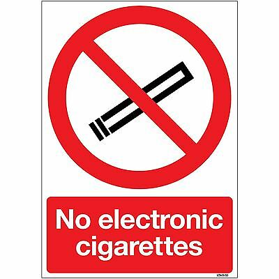 No Electronic Cigarettes Safety A5 Sign On 1mm Rigid PVC Plastic By Stika.co • 3.99£