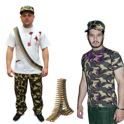 Mens Army Camouflage Full Trouser Hat, Bullet, T-Shirt Stag Do Fancy Dress Set • 13.93£