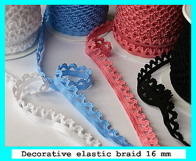 £2.69 • Buy Decorative Elastic Lace Braid Stretch Trim 16 Mm Wide For Sewing Crafts Lingerie