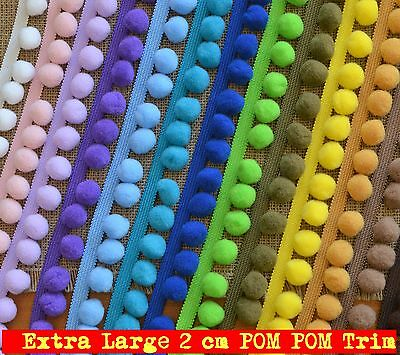XL POM POM Trim Extra Large Pompoms 2 Cm, Total Width 35 Mm Various Colours • 1.59£