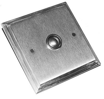 Solid Satin Chrome Large Square Victorian Door Bell Push Switch (SCP637) • 32.99£