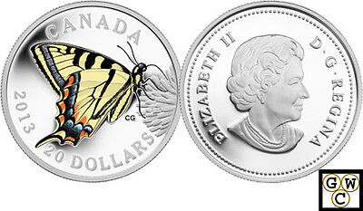 $71.62 • Buy 2013 Proof $20 Silver 'Tiger Swallowtail Butterfly' Colorized Silver Coin (OOAK)
