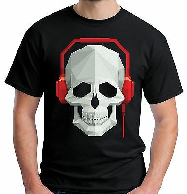 Velocitee Mens T-Shirt Skull & Headphones DJ Rave Festival Music V7 • 10.15£
