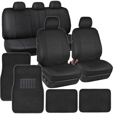 $39.90 • Buy PU Leather Car Seat Covers & Carpet Floor Mats Set Full Interior Auto Truck SUV