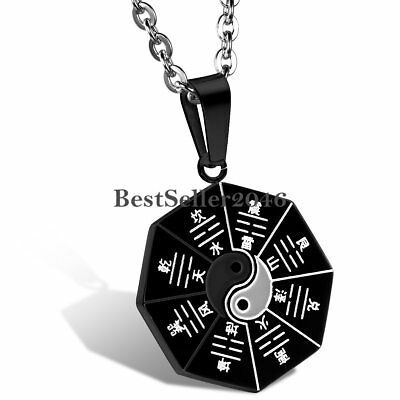 AU13.99 • Buy Ying Yang Stainless Steel Ba Gua Eight Diagrams Necklace Pendant Men's Women's