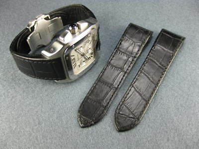 £32.23 • Buy 24.5mm Black Leather Strap Watch Band For CARTIER Santos 100 Chronograph XL V BK