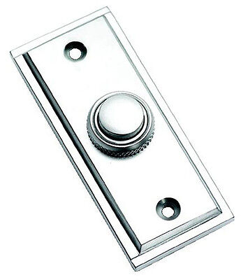 Satin Chrome Rectangular Victorian Style Door Bell Push / Switch (SCP183) • 14.95£