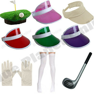 Pub Golf Golfer Golfing Visor Hat Club Socks & Gloves Fancy Dress Hen Night • 4.99£