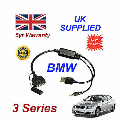 BMW 3 Series (611204407) For Apple 3GS 4 4S IPhone IPod USB & 3.5mm Aux Cable • 9.95£