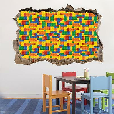 LEGO BRICKS Smashed Wall 3D Effect Decal Removable Graphic Wall Sticker Art H226 • 12.99£