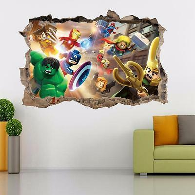 LEGO MARVEL DC Smashed Wall 3D Decal Removable Graphic Wall Sticker Mural H163 • 6.99£