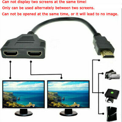 £3.98 • Buy 1080P HDMI Splitter Male To Female Cable Adapter Converter HDTV 1 Input 2 Output