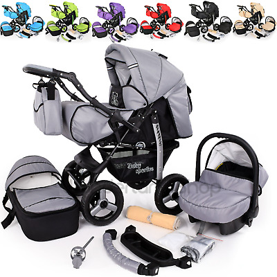 View Details Baby Pram Stroller Pushchair Car Seat Carrycot  Travel System Buggy+ FREEBIES • 179.00£