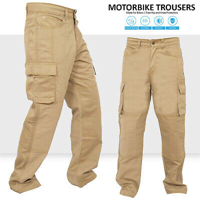 Motorbike Motorcycle Khaki Armours Cargo Trousers Jeans With Protective Lining • 35.99£