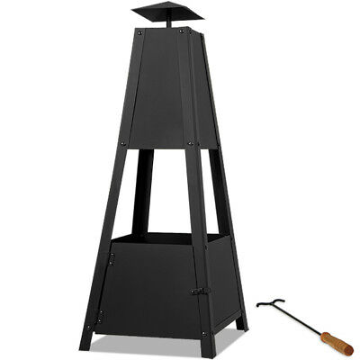 Pyramid Patio Chiminea  Heater Garden Fire Pit Outdoor Black Chimney Log Burner • 27.95£