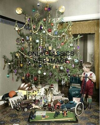 $ CDN16.30 • Buy 1922 Vintage Decorated Christmas Tree Colorized 8x10 Photo Antique Toys Scooter