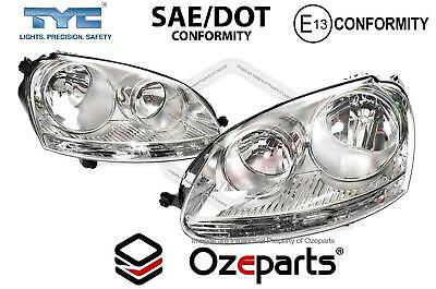 AU229.39 • Buy Set Pair LH+RH Head Light Lamp (Chrome) For Volkswagen VW Golf MK5 04~09