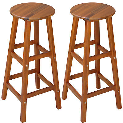 Wooden Bar Stool Set 2x Kitchen Breakfast Chair Dining Barstool Chairs Pub Wood • 54.95£