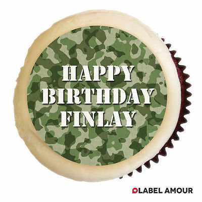 £2.75 • Buy 24 PERSONALISED Birthday Cup Cake Party Topper Army Camo Camoflouge