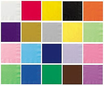 £1.85 • Buy 20 BEVERAGE NAPKINS - Plain Solid Colours Birthday Party Tableware Drinks