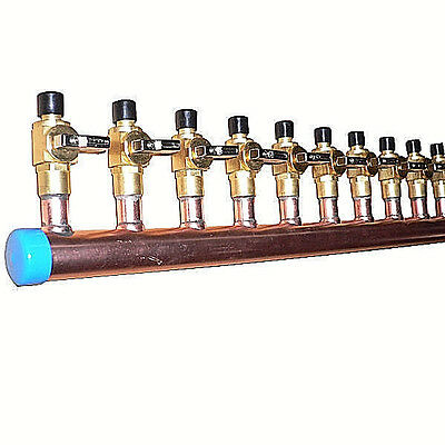 $115.96 • Buy 1  Copper Manifold 1/2  Pex Crimp Fitting (With & Without Ball Valve) 2-12 Loop*