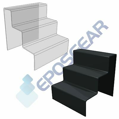 3 Step Tier Clear Black White Acrylic Perspex Retail Counter Display Riser Stand • 10.40£
