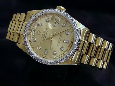 £11428.15 • Buy Mens Rolex Solid 18k Yellow Gold Day Date President Diamond Dial & Bezel 18038