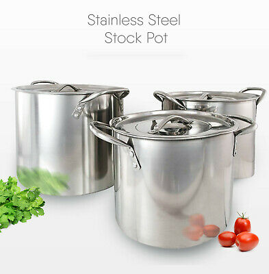 £15.99 • Buy Stainless Steel Deep Stock Cooking Pot With Lid Cater Stew Casserole Boiling