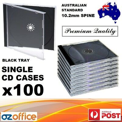 AU46.95 • Buy 100 X Jewel CD Case Standard Size Black CD Case With Tray Single CD Cases