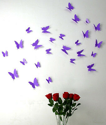 AU3.99 • Buy Wall Stickers 3D Butterfly 8 Colours Decor Decal Removeable Kids Home PVC