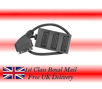 3 Way SCART Lead  /Cable / Wire Splitter Box Use 3 Devices In 1 Socket 1st Class • 8.99£