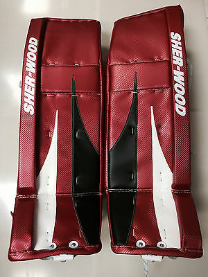 $699.99 • Buy Sherwood T100 Pro Returrn Hockey Goalie 35  Leg Pads Red Black White Goal New Sr
