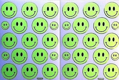 £2.19 • Buy SMILEY STICKERS X 2 Sheets, Bright Yellow, Gold Outline *day-glo* LARGE - 2.7cm
