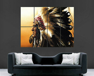Native American Indian Chief Poster Picture Huge Art Print Large Giant • 17.99£