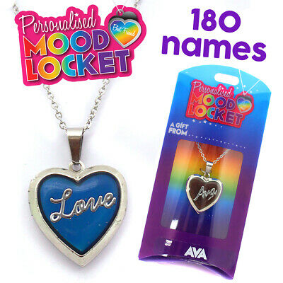 Personalised Name Mood Heart Shaped Silver Locket Pendant Kids Necklace Initials • 4.99£