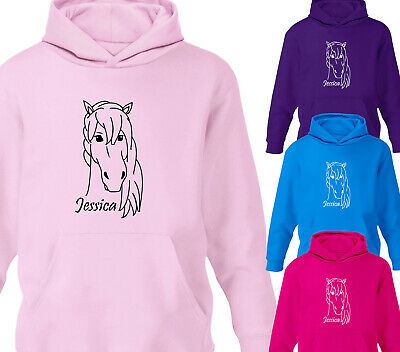 Girls Personalised Horse Riding Hoodie Childrens Pony Equestrian Hoody Gift • 15.75£